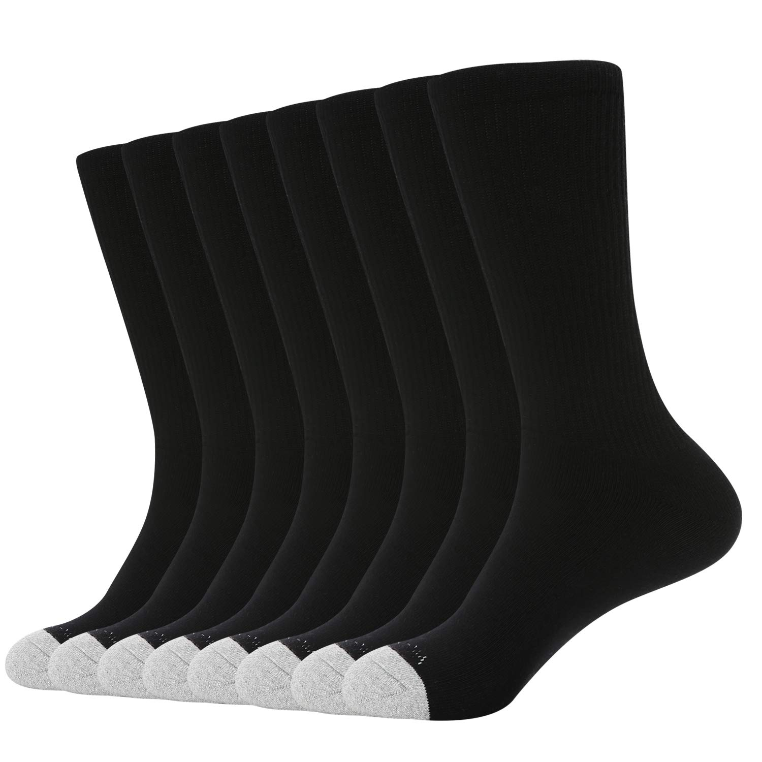 WANDER Mens Crew Cushion Socks Breathable Athletic Sports Socks Moisture Wicking Cotton Thick Socks (Socks Size:13-15, 8 Black) by WANDER