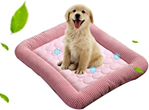 Volwco Dog Cooling Gel Mat/Pad/Bed, Pet Self Cooling Summer Sleeping Cooling Blanket, Non Sticking Non-Toxic Breathable Washable Pet Cool Mat Bed for Small Medium Large Dog, Cat