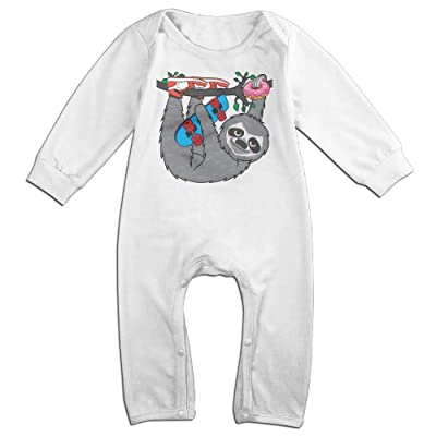 Arromper Skater Sloth And The Donuts Newborn Babys Long Sleeve Jumpsuit Outfits White