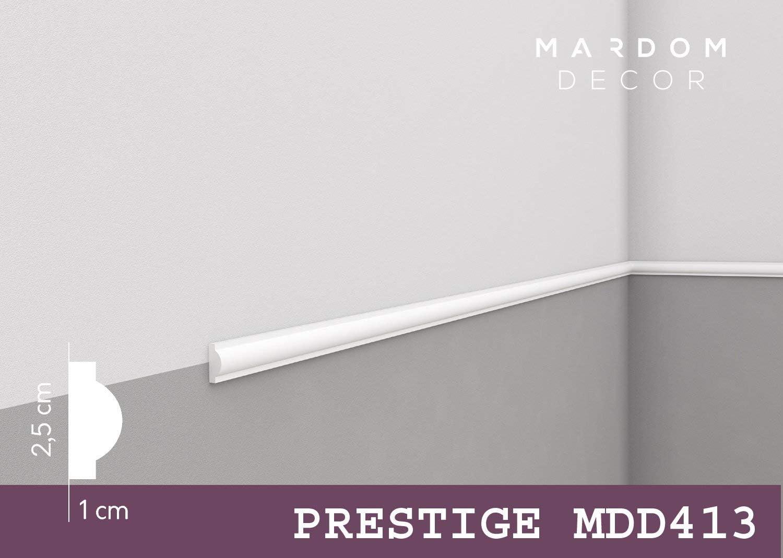***Klassiker*** MARDOM DECOR Wandleiste I MDD413 I Friesleiste Stuckleiste Profilleiste zur universellen Gestaltung von W/änden T/äfelung und Rahmen I 240 cm x 2,5 cm x 1,0 cm