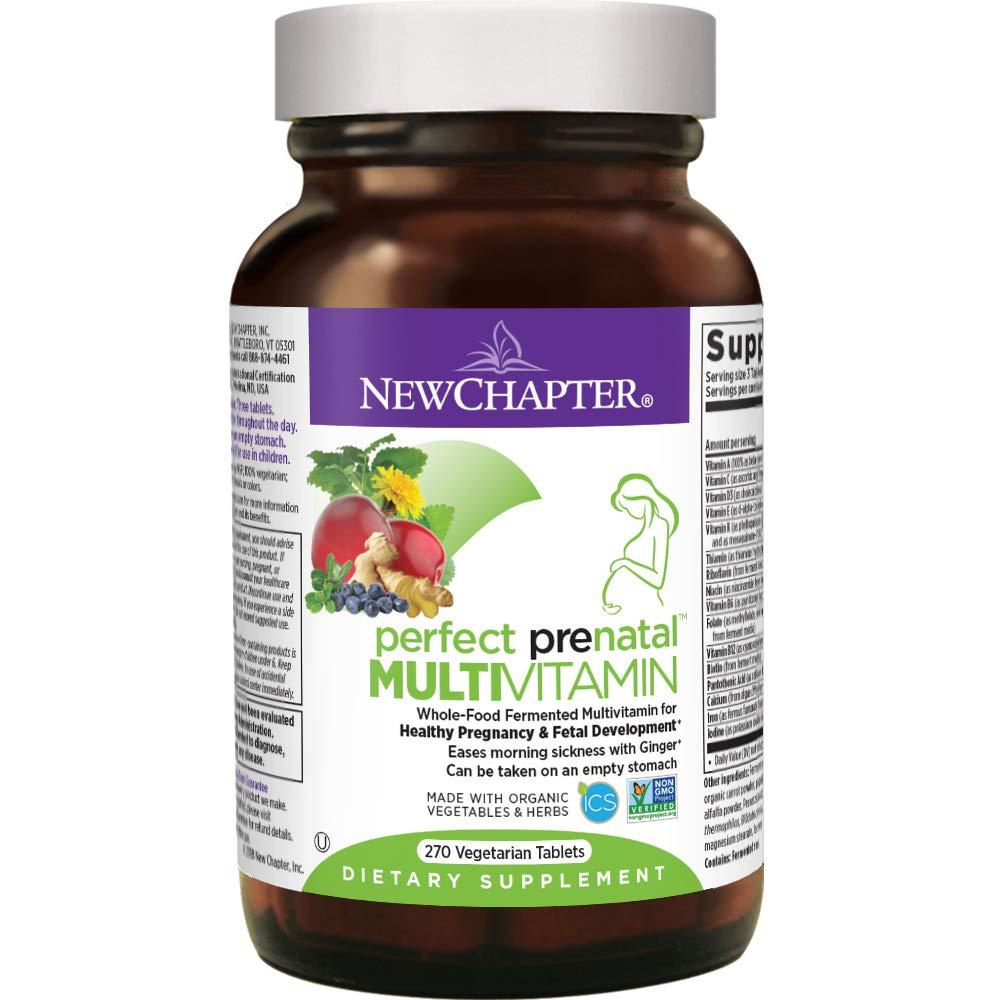 New Chapter Perfect Prenatal Vitamins, 270 ct, Organic Non-GMO Ingredients - Eases Morning Sickness with Ginger, Best Prenatal Vitamins Fermented with Wholefoods for Mom & Baby - (Packaging May Vary)