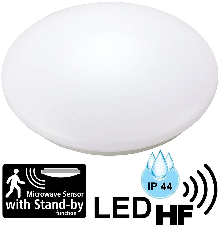/Ø 255mm 3000 K warmwei/ß LED 12W Feuchtraum Deckenleuchte IP44 mit Radar 5.8GHz HF-Bewegungsmelder