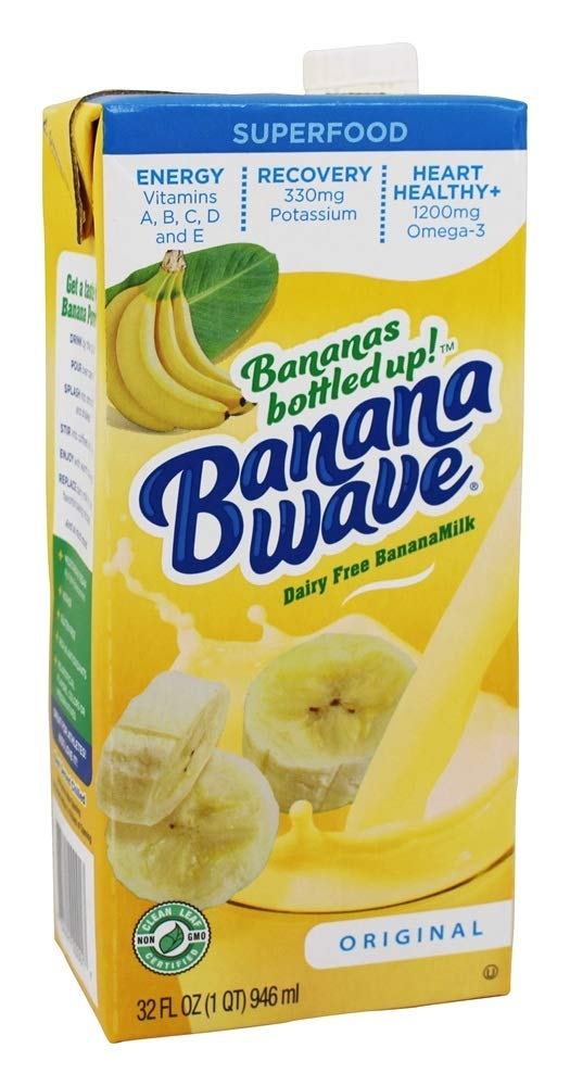 Banana Wave Dairy Free Banana Milk, blended superfood beverage with potassium and omega-3, all natural (case of 12) by BananaWave