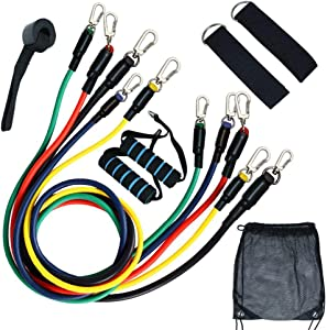 Wallcharmers 11 pc Resistance Bands Set - 5-Piece Exercise Bands - Portable Home Gym Accessories - Stackable Up to 150 lbs. - Perfect Muscle Builder for Arm, Back, Leg, Chest, Belly, Glute