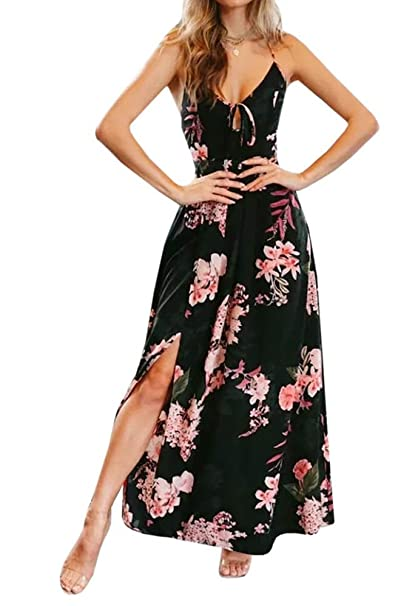 61aaab3c6fd Bbalizko Womens Bohemian Dresses Sleeveless Lace up Backless Floral Print Split  Long Maxi Dress (Small
