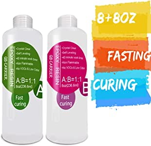 Epoxy-Resin-Kit for Jewelry, Art, Craft 16oz,Fast Curing, 2 Part Crystal Clear Casting Resin