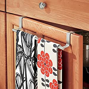 """mDesign Over-the-Cabinet Kitchen Dish Towel Bar Holder - 14"""", Brushed Stainless Steel"""