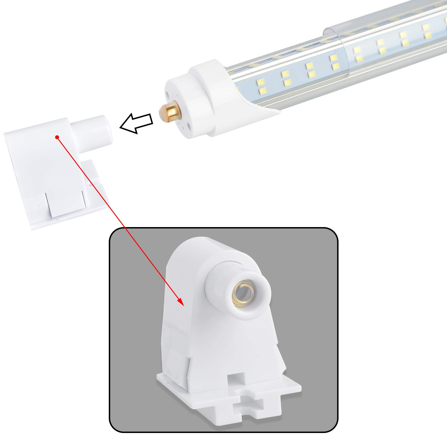 Single Pin FA8 Base,Double sided 4 Rows 270 Degree V Shaped 768 LED Chip Bulbs Ballast Bypass,12PCS Dual-End Powered T8 T10 T12 8ft LED Tube 96 120W 6500K 12200 Lumens,Clear Cover