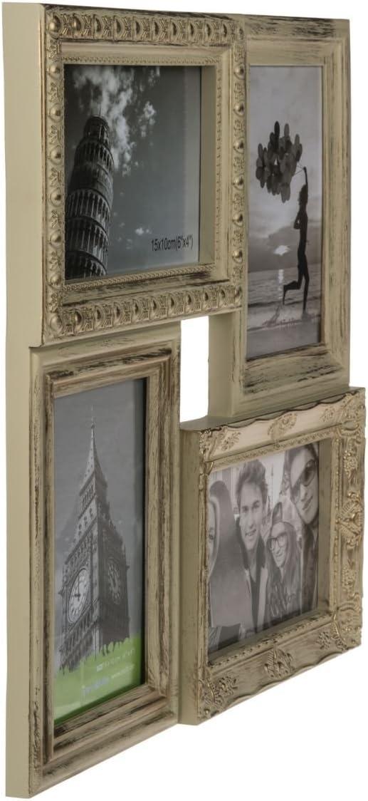 Bilderrahmen f/ür 4 Bilder oder Fotos im Format 10 x 15 cm Ma/ße Rahmen: ca 4 Zusammengef/ügte Fotorahmen mit verschiedenen Dekors Mehrfach goldfarben im shabby Antik-Look 33 x 33 x 2,5 cm