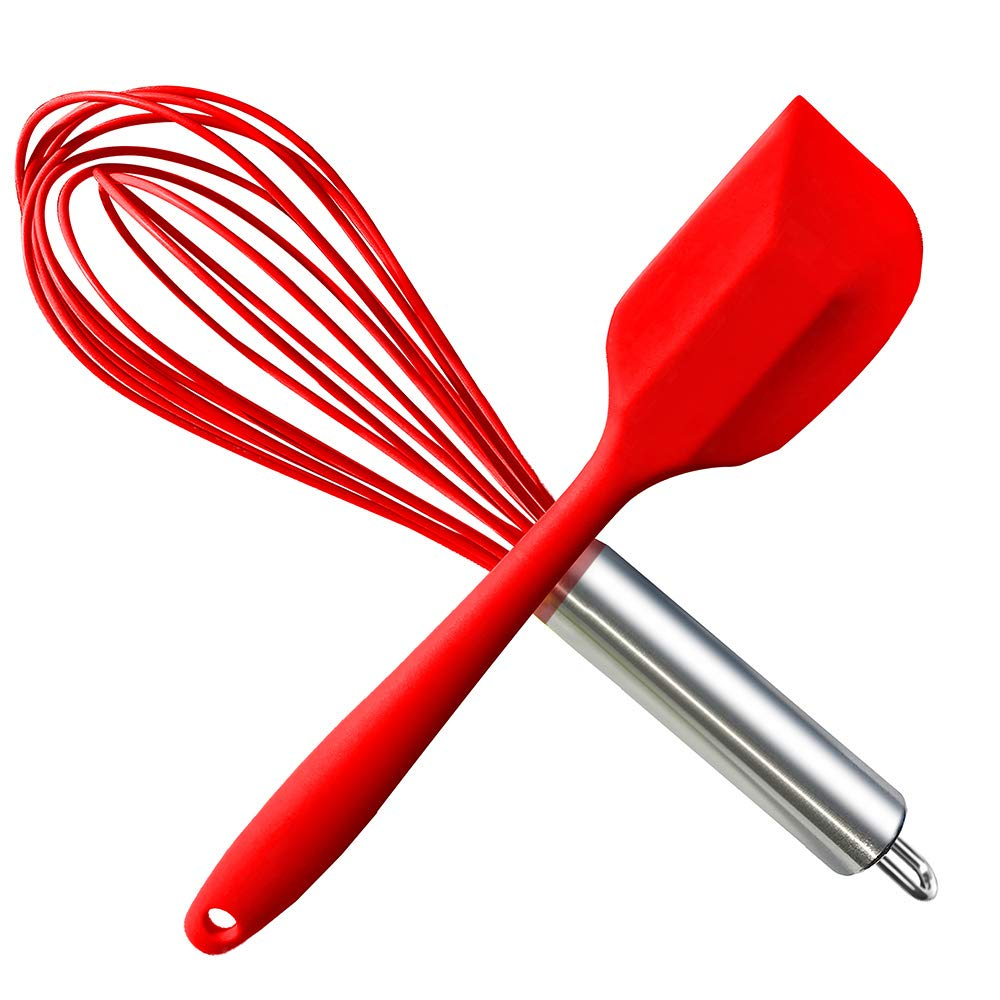 HauBee Kitchen Wire Balloon Silicone Whisk Set 600ºF Heat Resistant Non Stick Rubber Stainless Steel Seamless Design Baking Cooking Spatulas Tools (2 Pack, Red)