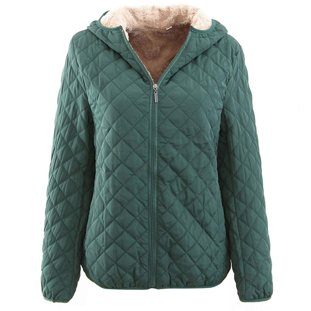 GH Coat Light Hooded Jackets Warm Womens Jackets Fashion Winter Blackish Green XL