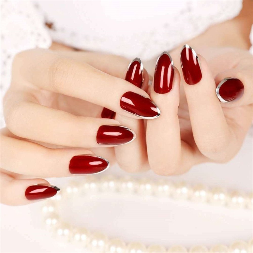 BloomingBoom 24 Pcs 12 Size Full Cover False Fake Nail Artificial Elegant Press on Salon Design Women Claw Ballerina Long Natural Red Hemming Around French Style Gold Ltd