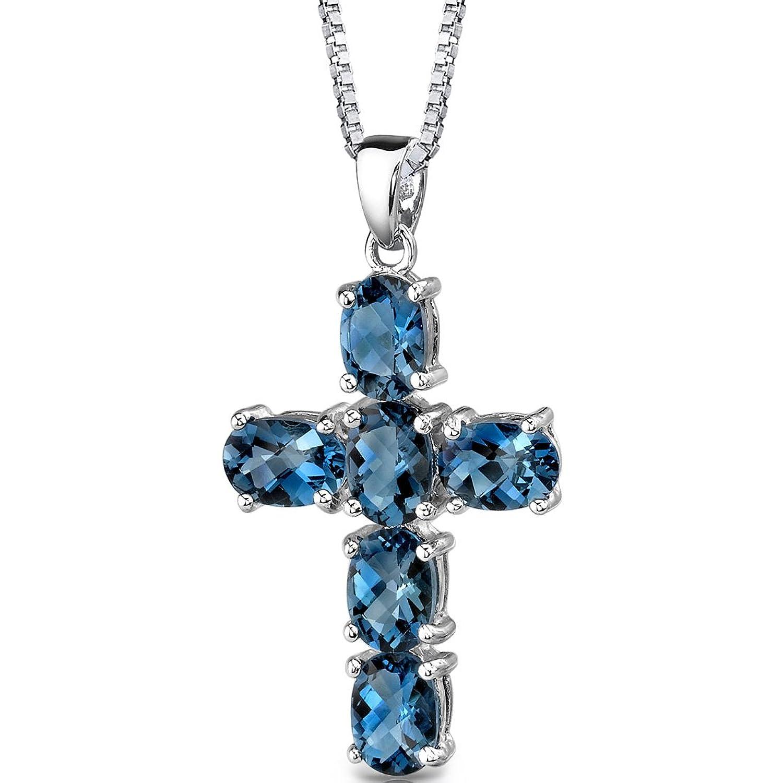 Amazon London Blue Topaz Cross Pendant Necklace Sterling