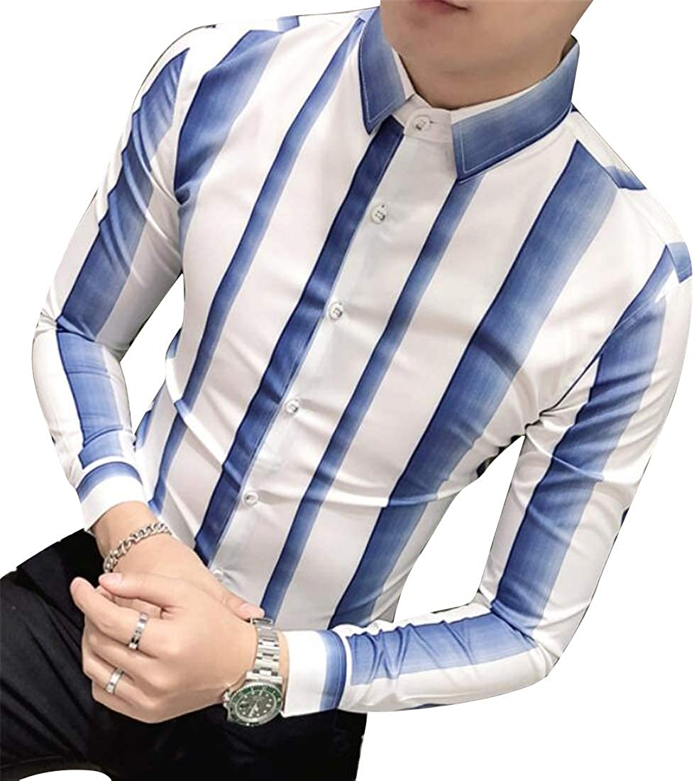 Jofemuho Mens Club Long Sleeve Regular Fit Vogue Stripe Button Down Shirts