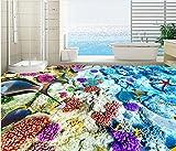 BZDHWWH 3D Flooring PVC Wallpaper Self Adhesive Leather Seabed Flooring for Bathrooms Luxury Wallpaper 3D Floor Murals,110Cm X 160Cm