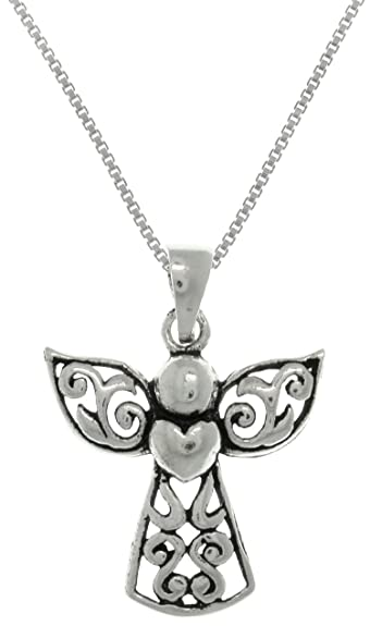 Amazon jewelry trends sterling silver small filigree angel jewelry trends sterling silver small filigree angel heart pendant on 18 inch necklace aloadofball Choice Image