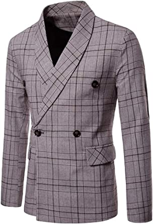 OTW Mens Slim Two Button Plaid Turn Down Collar Winter Business All Wool-Outerwear-Coats