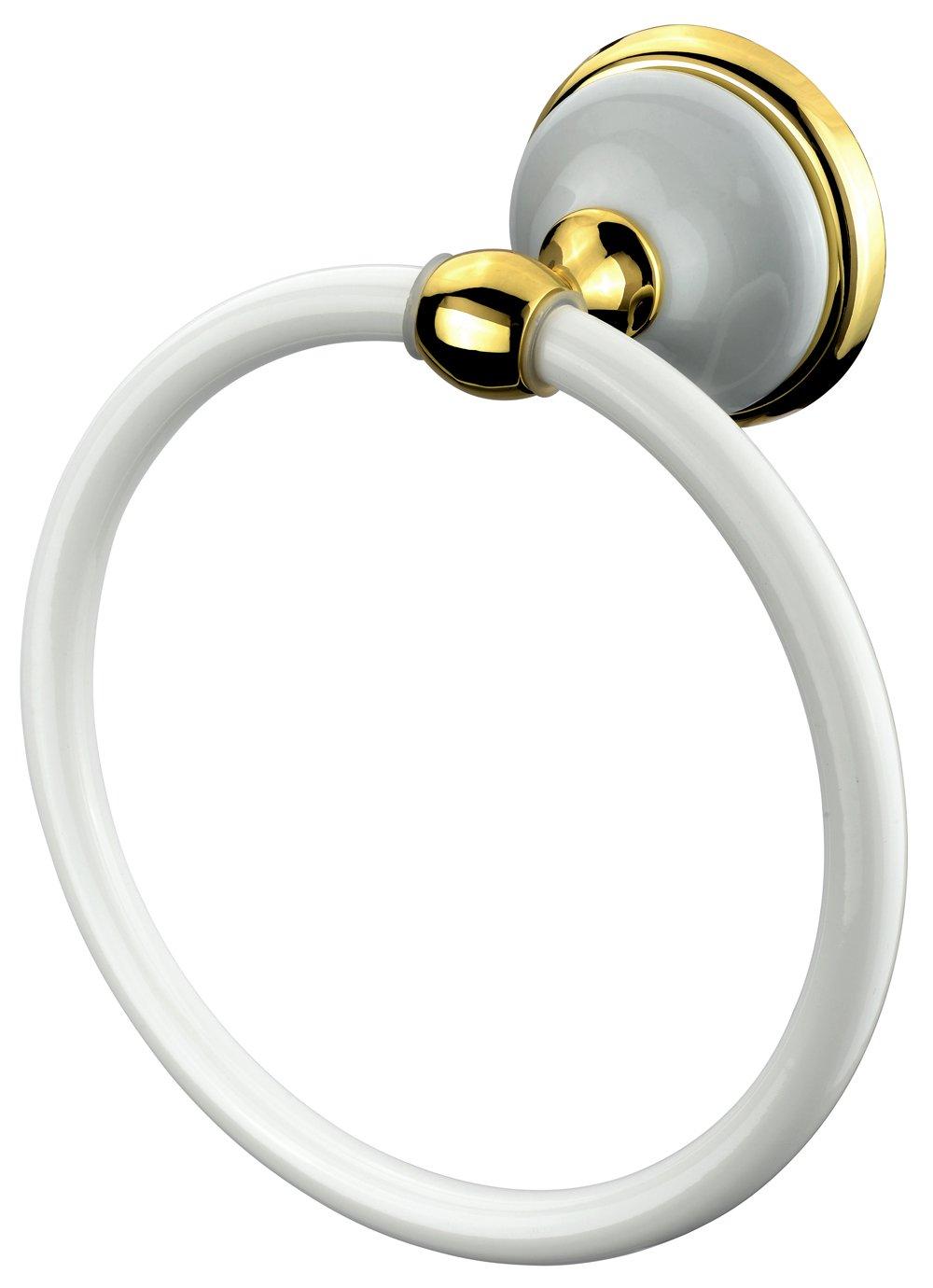 VELMA - 278360 - Anneau Porte-Serviette - Série Bianco Gold - Design Exclusif - Laiton/Alliage De Zinc/Céramique/Or 18 Carats (750) - Inoxydable - Haute Qualité