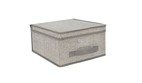 Home Basics Faux Jute Fabric Storage Box Bin (Medium Gray)  sc 1 st  Amazon.com : faux storage box  - Aquiesqueretaro.Com