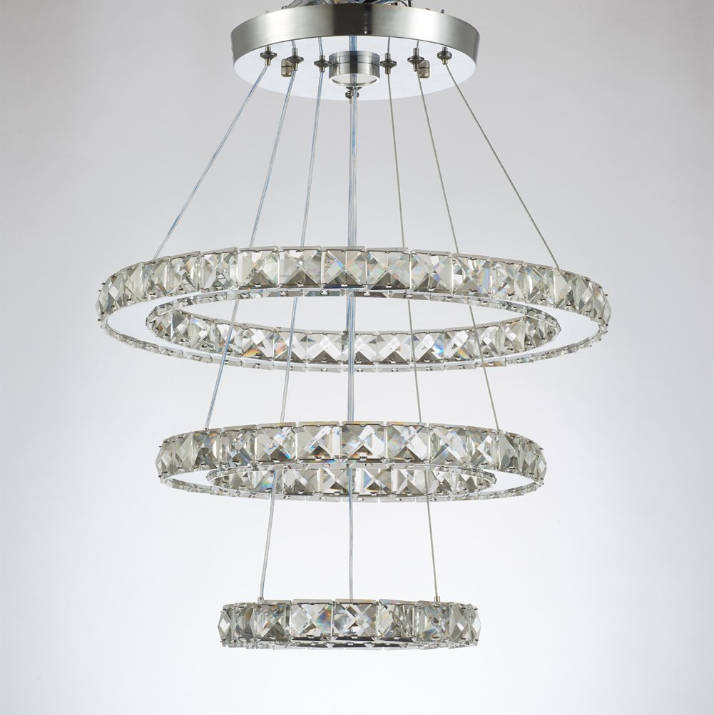 Dixun Modern Crystal Chandeliers LED Chandelier Pendant Lights Chandelier Rings Pendant Light 20/30/40cm(8/12/16 inches)(Cool White 20/30/40)
