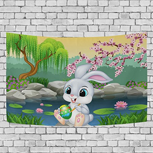Top Carpenter Carton Easter Bunny Tapestries Wall Carpet