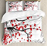 Ambesonne Nature Duvet Cover Set Queen Size, Sakura Blossom Japanese Cherry Tree Garden Summertime Vintage Cultural Print, Decorative 3 Piece Bedding Set with 2 Pillow Shams, Grey and Vermilion