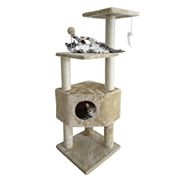 Furhaven Tiger Tough Cat Tree House Furniture For Cats And Kittens,  Clubhouse Playground, Cream