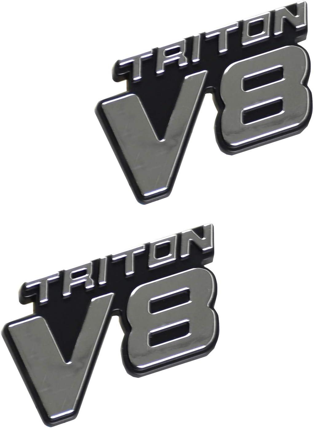 2Pcs V8 Triton Emblems Badges Door Tailgate Rear Decal Sticker 3D Nameplate Compatible for V8 Chrome Black