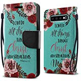 FINCIBO Case Compatible with Samsung Galaxy S10 6.1 inch, Fashionable Flap Wallet Pouch Cover Case + Card Holder Kickstand for Galaxy S10 (NOT FIT S10 Plus) - Christian Bible Verses Philippians 4:13