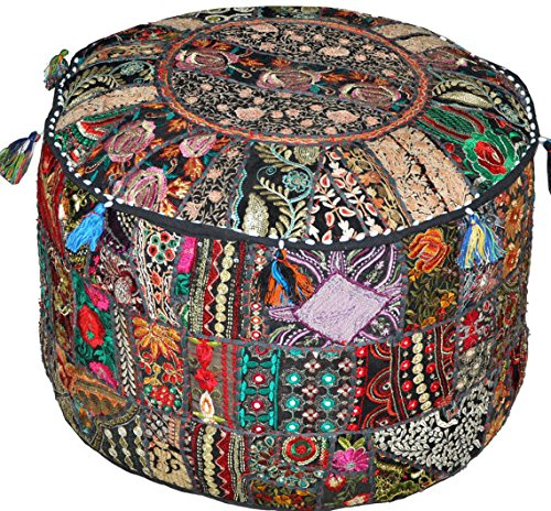 22' Chair (Americana Decor's Bohemian Patchwork Ottoman cover vintage traditional indian pouf cover ''14x22'' cotton decorative chair ''Filler Not Inculded'')