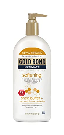 Gold Bond Ultimate Softening Lotion 14 Ounces Pack of 3 Helps Smooth and Soften Rough and Dry Skin, Non-Greasy Moisture-Rich Cream with Coconut Oil, Shea Butter, Cocoa Butter