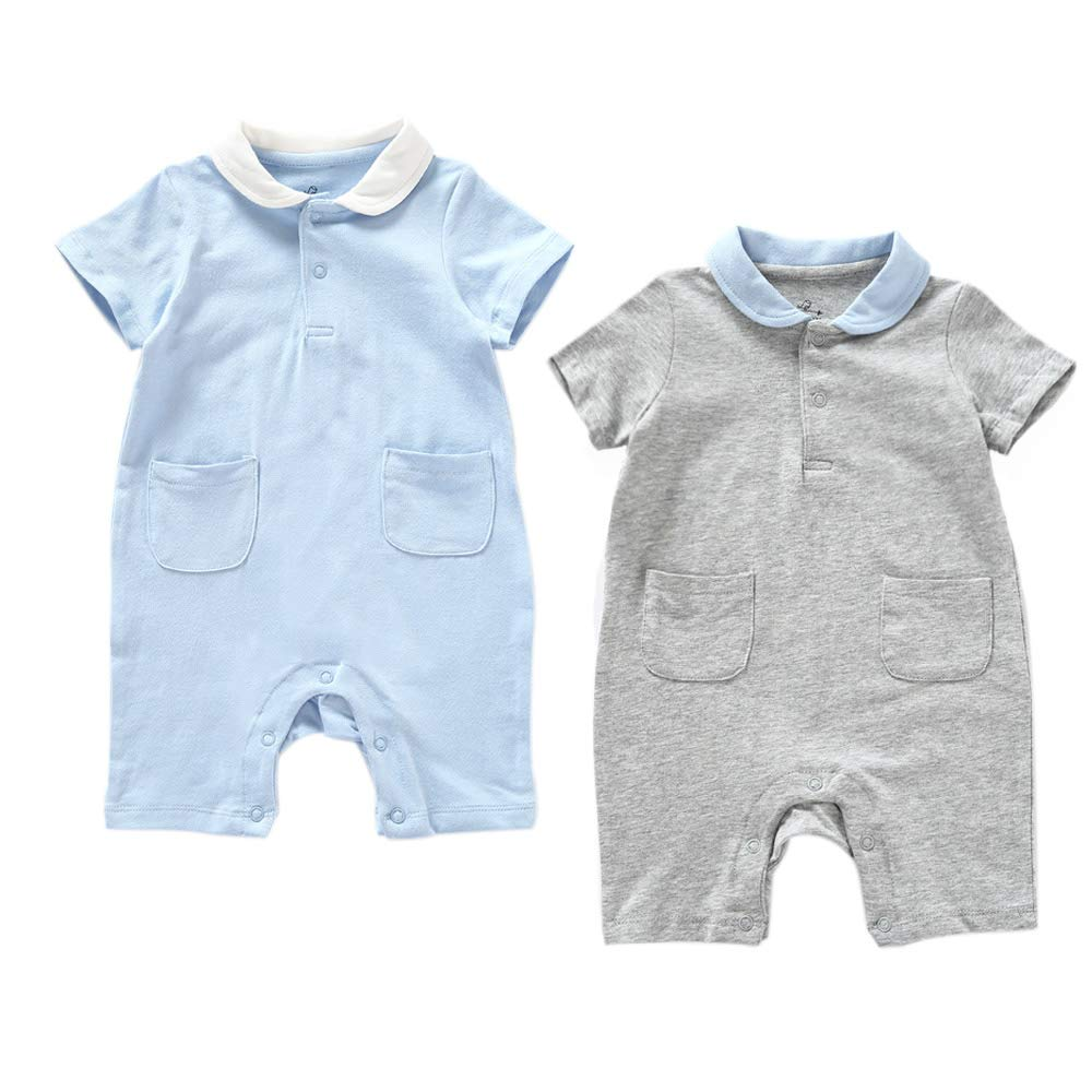 Zanie Kids Unisex Baby Short Sleeves Snap Bottoms Toddle Rompers Cotton Bodysuits 2-Pack