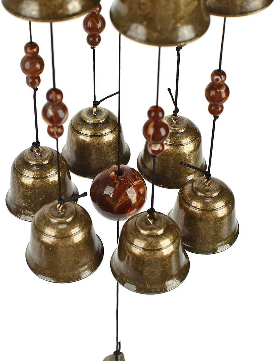 Gardenvy Bird Nest Wind Chime, Bird Bells Chimes with 12 Wind Bells for Glory Mother's Love Gift, Garden Backyard Church Hanging Decor, Bronze : Garden & Outdoor