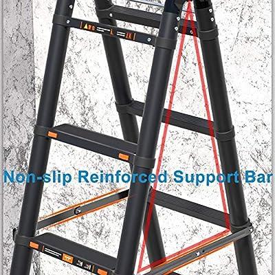 Escalera telescópica Negro Aluminio Multiusos Alto Escaleras de extensión para Industrial Hogar Diario o Uso de Emergencia, 2m / 3m / 4m, Carga 150kg (Size : 4.7m/15.4ft): Amazon.es: Hogar