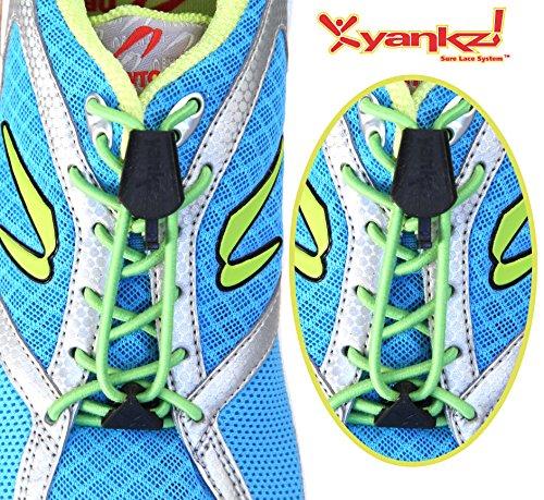Yankz Sure Lace Ronde Elastische Veters Lime Groen Met Zwart