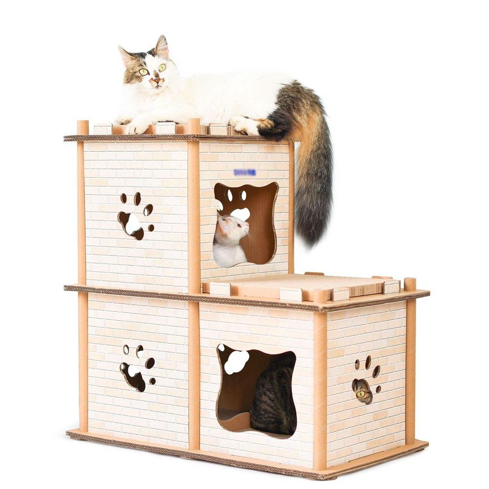 JEELINBORE Divertido Rascador Salón Cama Rascadores para Gatos Jaulas Casita Casa Cajas de cartón Corrugado para Mascota (Estilo # 1, 67.5x37x67.5cm): ...