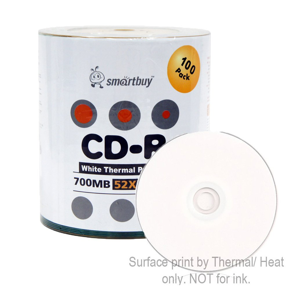 Smart Buy CD-R 100 Pack 700mb 52x Thermal Printable White Blank Recordable Discs, 100 Disc, 100pk