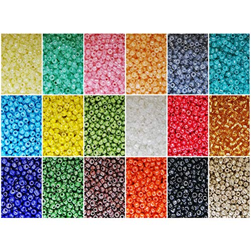 (BALABEAD 10800pcs 8/0 Seed Beads in Box 18 Colors Mixed Opaque Lustered Loose Spacer Glass Beads, 3mm Round (600pcs/Color,Silver Color Mixed))