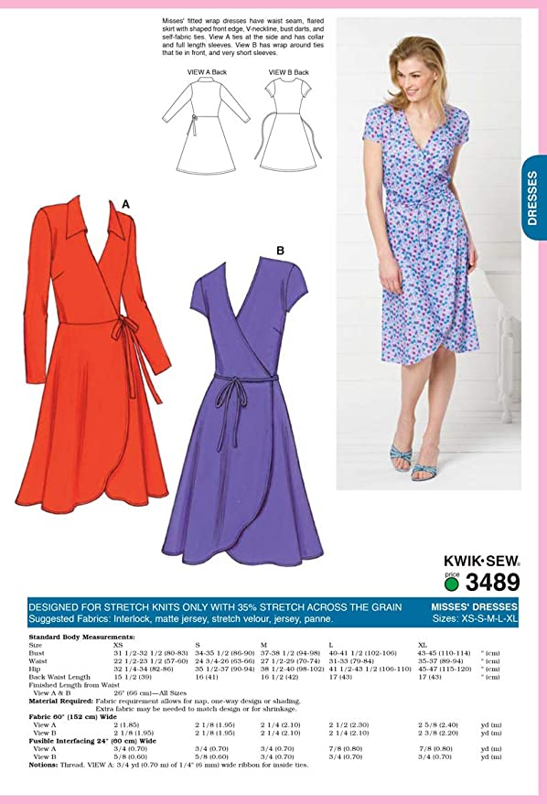 Amazon Kwik Sew K40 Dresses Sewing Pattern Size XSSMLXL Awesome Wrap Around Dress Pattern