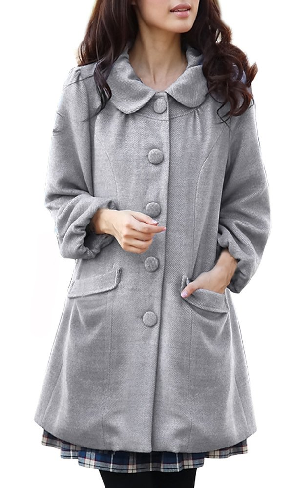 Sweet Mommy Elegant Maternity and Mother's Coat with baby pouch Gray, M