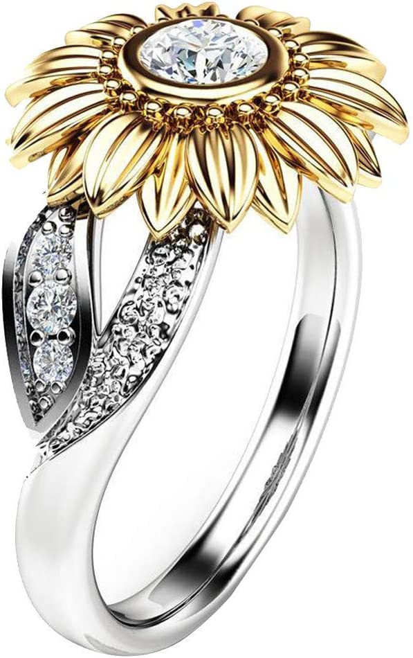 6, Yellow Sunflower Necklace Ring Set 2020 Rings for Women Exquisite Two Tone Silver Floral Ring Round Diamond Gold Sunflower Jewely Valentines Day Birthday Womens Day Gift for Ladies