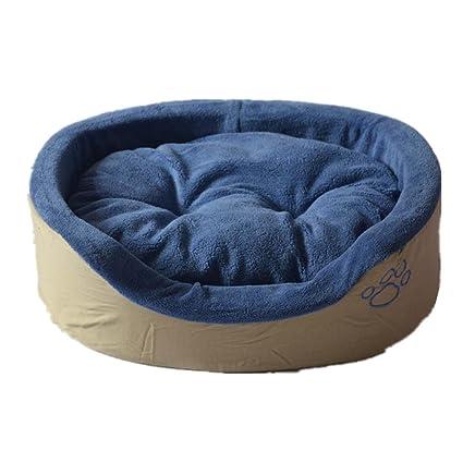 OOFWY mascota invierno general lindo redondo perro cama económica perro gato nido, azul