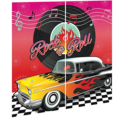 Amscan Nifty 50's Theme Party Rock & Roll Scene Setters Wall Decorating Kit, Multicolor, 65