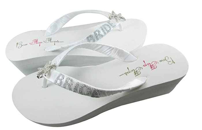 5faf042daade Amazon.com  Silver Starfish Bride Glitter Flip Flop Sandals  Handmade
