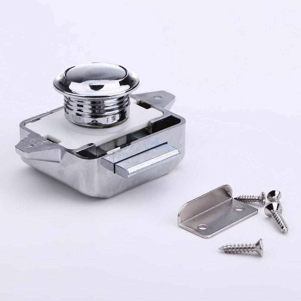 JUNERAIN Push Lock Button Catch Lock Schrankknopf Caravan Wohnmobil RV Unterschrank Schublade Verriegelung Chrome