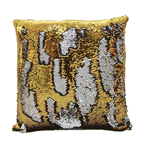 Golden Gift Tower (Fengheshun Reversible Sequins Pillowcase Mermaid Pillow Covers 40×40 cm Two Color Changing (Gold+Silver))