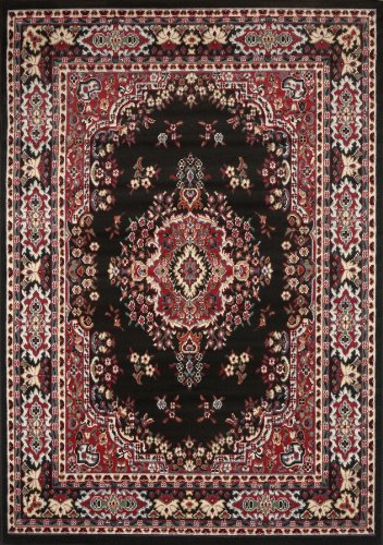 Persian-Inspired Area Rug by Home Dynamix | Premium Collection Sakarya Rug, Style on a Budget | Indoor Stylish Decorative Rug in Black and Red | Traditional Medallion Style  5'2