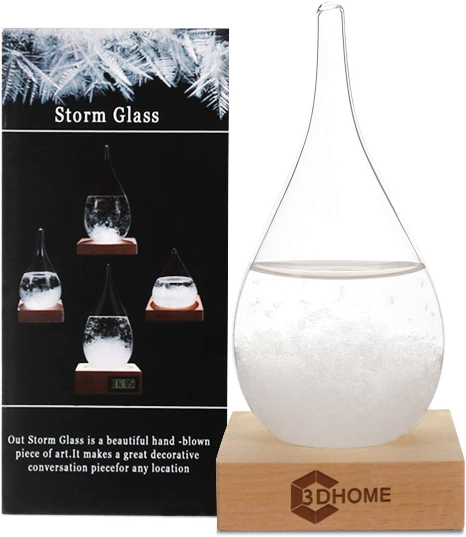 Storm Glass Weather Forecaster Weather Station with Pure Wood Base Creative...
