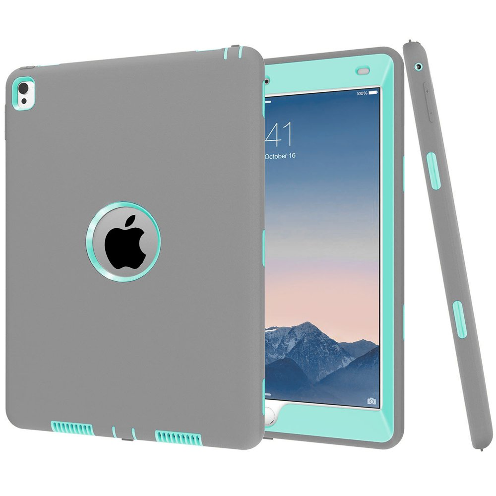 iPad Pro 9.7 inch Case, KAMII 3 In 1 Hybrid Silicone and Shock-Absorption / High Impact Resistant Hybrid Armor Defender Full Body Protective Case Cover for iPad Pro 9.7 inch 2016 Release (Grey+Aqua)
