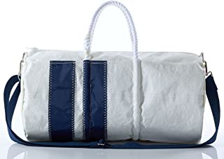 product image for Recycled Sail Cloth Vertical Stripe Duffel with Rope Handles